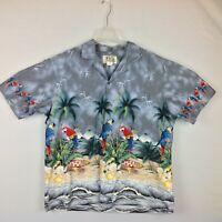 KY's Hawaiian Camp Shirt Mens XL Parrots Surf