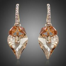 Sparkly Shiny Champagne Gold Heart Austria Crystal Drop Dangle Fashion Earrings
