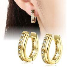 1 Paar Creolen Ohrringe Gold 18K vergoldet 7 Zirkonia Damen Ohrstecker Strass