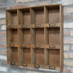 Wall Storage Shelf Rustic Wooden 12 Pigeon Hole Display Vintage Style Shelving