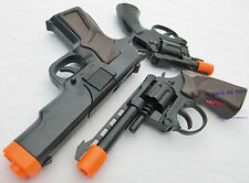 3x Toy Guns Military Detective Black 9MM Pistol .357 Revolver Cap Guns Set