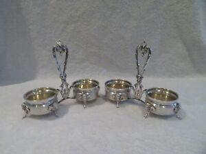 19thc french 950 guilloche silver 2 open salt cellars Louis XVI st ram's head