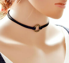 New 90's Black Faux Suede Charm Choker Necklace Gothic Cord String Retro Jewelry