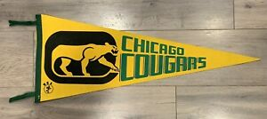 VINTAGE 1970s CHICAGO COUGARS WHA PENNANT