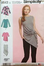 Simplicity 8643 Misses Knit Tops Assorted Styles Sizes: XXS - XXL