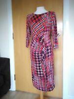 Ladies Dress Size 14 PER UNA Orange Black Stretch Ruched Smart Party Evening