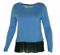 Michael Kors Women's Petite Pleated Layered Look Stretch Top Blue Petite Large