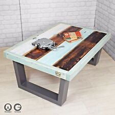VINTAGE INDUSTRIAL RECLAIMED TIMBER MID CENTURY FARM PAINTED COFFEE TABLE 1960s