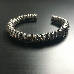 'Rocks' Designer Tubular Cuff - Sterling Silver Cuff Bangle