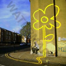 Banksy Yellow Lines Flower Painter Street Giant Canvas Art Print