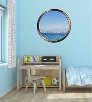 Huge 3D Porthole Pirate ship Boat Scooner at night View Wall Stickers Decal 530