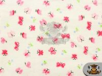 """Cotton Flannel BUTTERFLY PINK Fabric / 45"""" Wide / Sold by the Yard"""