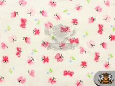 "Cotton Flannel BUTTERFLY PINK Fabric / 45"" Wide / Sold by the Yard"