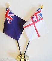 Royal Navy Blue Ensign & White Ensign Double Friendship Table Flag Set