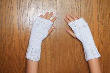 Hand Knit Fingerless Gloves- Wrist Warmers-Texting Gloves- White Sparkle