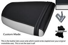WHITE & BLACK CUSTOM FITS TRIUMPH SPEED TRIPLE 955 i 01-05 REAR LTHR SEAT COVER