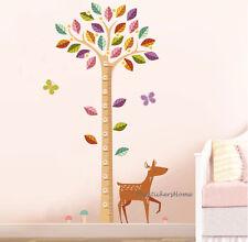 WOODLAND TREE & DEER Wall Decal Stickers Height Chart Nursery Child Kids Bedroom