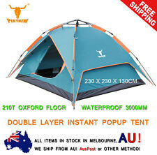 Double Layer Pop Up Camping Camp Tent 3 4 Person Outdoor Waterproof Shelter