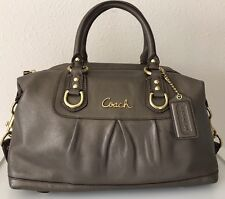 Coach Ashley Shoulder Satchel F15445 Pewter Metallic Gray Handbag Purse