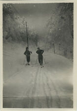 PHOTO ANCIENNE - VINTAGE SNAPSHOT - SPORT SKI DE FOND SKIEUR TRACES - SKIING