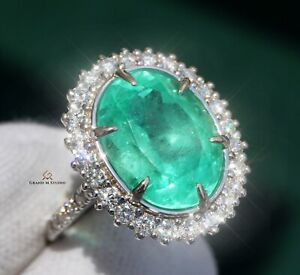 Emerald Ring Gold Diamond Natural Colombian 8.41CTW GIA Certified RETAIL $23400