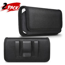 2Pack Horizontal Canvas Holster Belt Pouch Case for iPhone Samsung LG Huawei