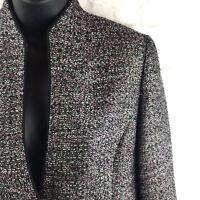 Womens Jones Studio Blazer Separates Tweed Suit Jacket Black White Silver Size 6