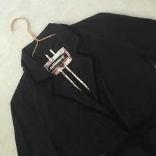 Dollhouse Lolita Goth Steampunk Black Velvet Lace Trim Tie Blazer Jacket Medium