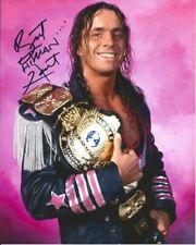 "Bret ""The Hitman"" Hart Autographed 8x10 - Belt"