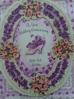 Vtg Layered Lavender PINK Glitter SHOE WEDDING Anniversary GREETING CARD