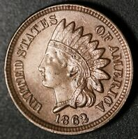 1862 INDIAN HEAD CENT - With LIBERTY & Near 4 DIAMONDS - AU UNC