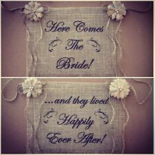 Burlap Here Comes Bride Happily Ever After Flower Girl Barn Wedding Reversible