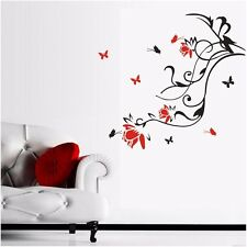 Flower Butterflies Wall stickers Home Wall Vinyl Decals Removable Room Deco DIY