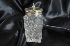 EARLY ANTIQUE CUT CRYSTAL MUSTARD JAR WITH SILVER PLATE TOP