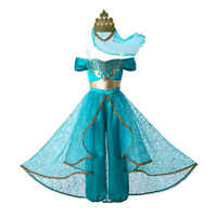 Child Princess Jasmine Fancy Dresses For Girls Kids Aladdin Costume Party Outfit