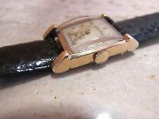 1937-39 14k Yellow Gold Mathey Tissot Wrist Watch 17 Jewels Black Cobra Strap