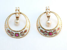 Vintage Enamel Pearl Ruby Drop Hoop Pierced Earring. 14k Yellow Gold