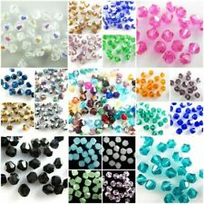 Wholesale 100Pcs Faceted Glass Crystal Beads Spacer Bicone Bead Findings 4mm