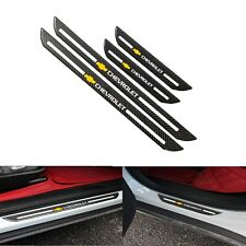 4Pcs Set Chevrolet C.Fiber Car Door Welcome Plate Sill Scuff Cover Panel