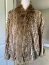 $995 Elizabeth And James Bianca Rabbit Coyote Fur Jacket Brown XS Just Cleaned
