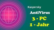 Kaspersky AntiVirus Lizenz Schlüssel KEY  Download 1 Jahr 3 PC