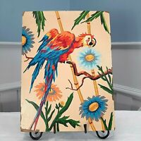 Vintage Paint by Number PBN Macaw Completed 12x16 Bright Tropical Bird Flowers