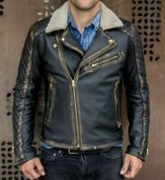 Cafe Racer Mens Biker Fur Collar Distressed Black Genuine Leather Jacket