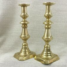 More details for antique jewish candlesticks pair polish russian brass judaica 19th century