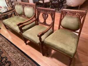 4 Pcs Eastlake Victorian Walnut Parlor set- Sofa, 2 Arm Chairs, 1 Side Chair