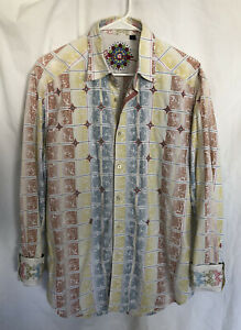 ROBERT GRAHAM Men's EMBROIDERED FLIP CUFF Button L/S DRESS SHIRT sz LARGE