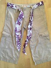 NEW Genuine ROXY QUIKSILVER Long SHORTS size Medium UK 10 Beige Floral Tie Belt