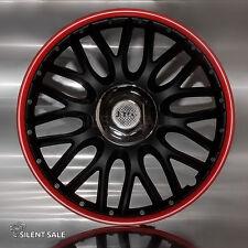 4x Radkappen ORDEN RED BLACK 14 Zoll Schwarz / Rot Radzierblenden