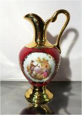 """Vintage Porcelaine Artistique F. M LIMOGES FRANCE, 5"""" Burgundy / Gold Cruet Vase"""