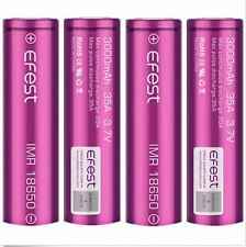 4 x purple EFEST IMR 18650 35A RECHARGEABLE Li-MN Battery 3000mAh  w/cases